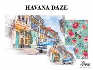 A brilliant watercolor of a havana street with tall buildings, clothes lines, colorful architecture and a baby blue vintage car. the companion paper are beautiful pink, fuscia, blue, and white florals on a pale turquoise background