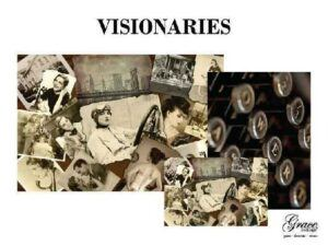 visionaries features black and white vintage photos of strong women. The companion paper is an image of a black vintage typewriter